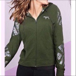 VS PINK Green Sequin Logo Zip Hoodie